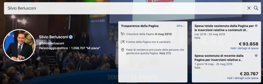 quanto spende Silvio Berlusconi nelle campagne sui social